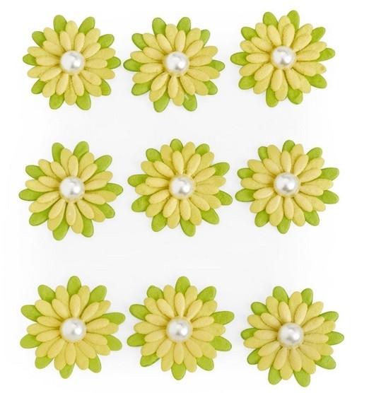 Sticker Papierblüten 9Stk. lindgrün