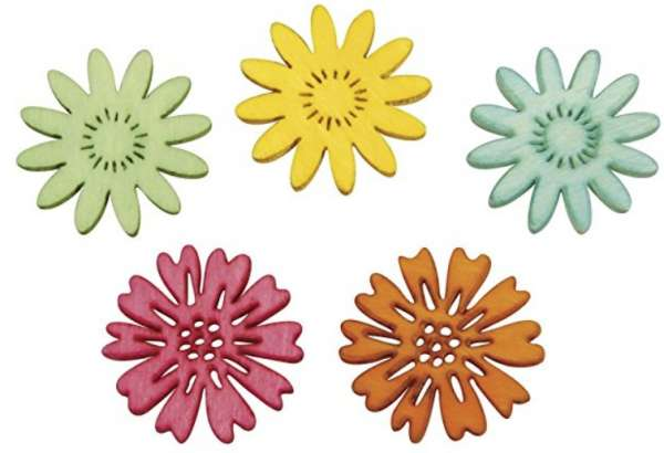 Holz Streuteile Blumen 5 Farben