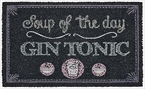 gift company fu matte kokos 39 soup of the day gin tonic 39 grau 75x45cm fu matten reinigung. Black Bedroom Furniture Sets. Home Design Ideas
