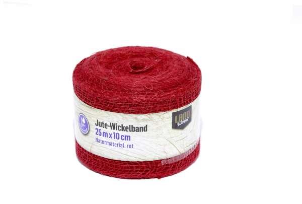 Jute- Wickelband / Streifen rot