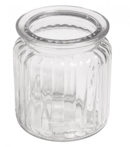 Glas Gefäß mit Rillen 7,5x9cm