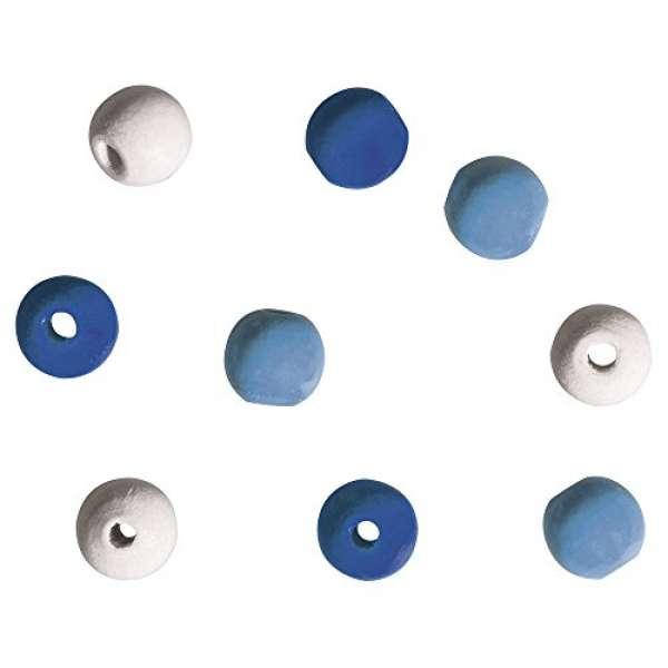 Holzperlen für Deko, 9mm ø hellblau