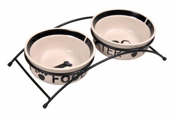 Trixie Keramik Napf Eat-on-Feet Napf-Set, 2 × 0,6 l/ø 15 cm