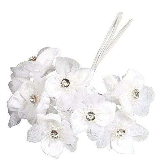 Satin Organza Stern Blüten Bouquet weiß