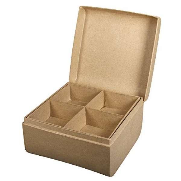Pappmache Box +Einsatz 12,5x12,5x8cm
