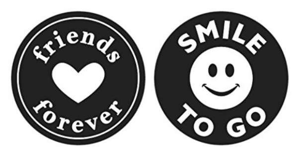 """Labels """"friends forever, Smile to go"""" D30mm 2St."""