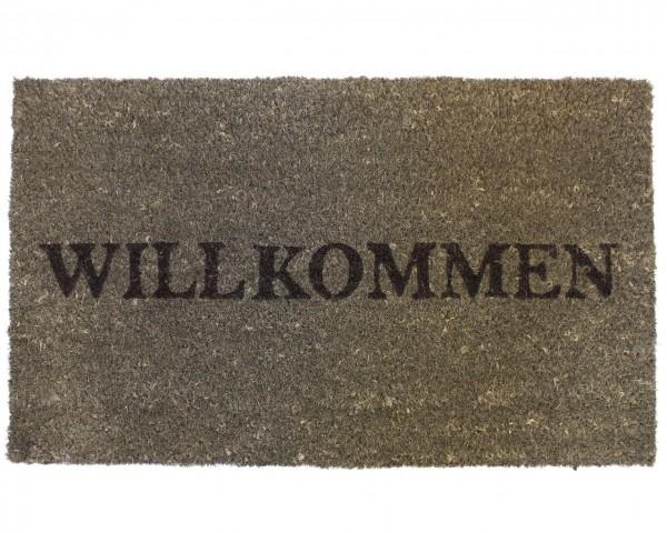 Fußmatte grau 'Willkommen' 74x44cm