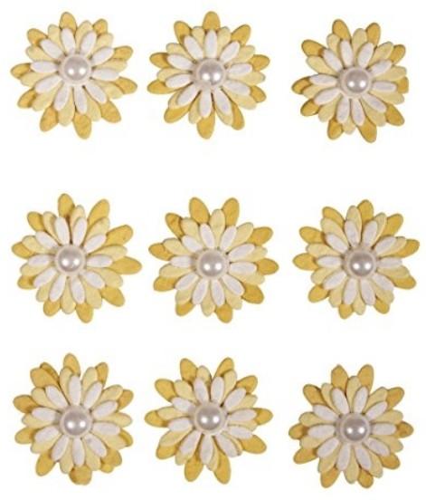 Sticker Papierblüten 9St. sonnengelb