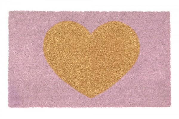 Gift Company Fußmatte Kokos 'GlitzerHerz' rosa 75x45cm