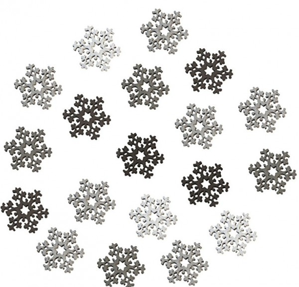 Holz-Streuteile Schneeflocken 4 Farben