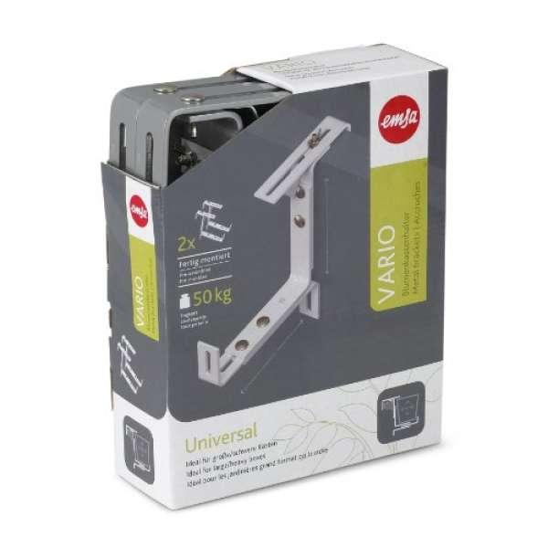 Emsa VARIO Universal Blumenkastenhalter aluminium 2 Stk.