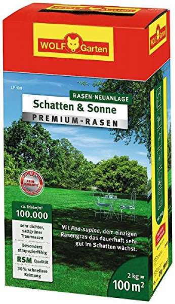 """Wolf Garten LP 100 """"Schatten & Sonne"""" Premium-Rasen 2kg"""