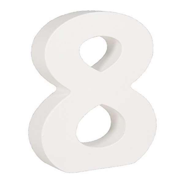 MDF- Nummer 8 weiß 11cm Stärke 2cm