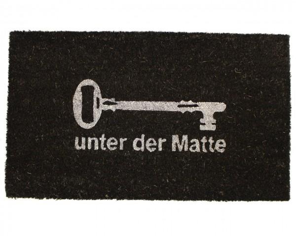 Fußmatte schwarz 'Schlüssel unter der Matte' 74x44cm