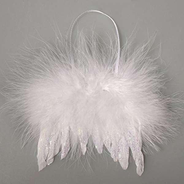 Feder Flügel m. Glitter 10x10cm weiß