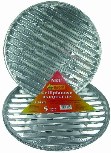 favorit 1816 Grillpfannen rund, 5-er Pack, Durchmesser 34 cm