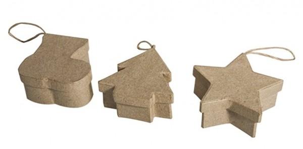Pappmache Anh.Box. Stiefel,Stern,Baum
