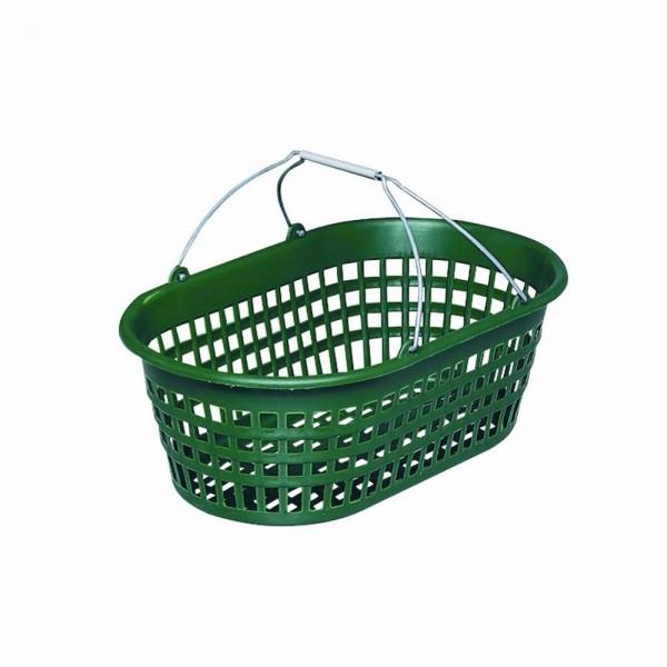 Gartenkorb 15kg oval grün mit Draht-Klappbügel
